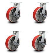 12andrdquo Extra Heavy Duty Red Poly On Cast Iron Caster-swivel Casters W/brakes- Set 4