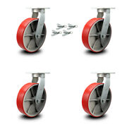 10andrdquo Extra Heavy Duty Red Poly On Cast Iron Caster Set-swivel Casters W/bsl-set 4