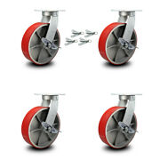 10andrdquo Extra Heavy Duty Red Poly On Cast Iron Caster-swivel Casters W/brkandbsl-set 4