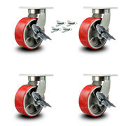 8andrdquo Extra Heavy Duty Red Poly On Cast Iron Caster-swivel Casters W/brkandbsl-set 4