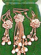 Rare Vintage D And E Juliana Demi Parure Crystal Pearl Lariat Necklace And Earrings