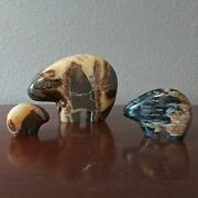 Unique Indian Bear Natural Stone Figurines - Set Of 3