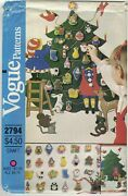 Vogue 2794 Christmas Advent Calendar And Ornaments Pattern Small Envelope Uncut