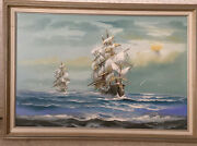 Antique Oil Painting Ocean Sailboats