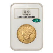 1904 20 Gold Liberty Head Ngc Ms63 Cac Certified Philadelphia Double Eagle Coin