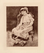1892 Renoir Limited Edition Portrait Etching Seated Girl And Kitten Framed Coa