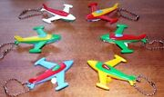 6 Vintage 1960's Airplane Keychain Puzzles Toy Puzzle Lot Old Store Stock Mint