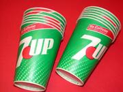 12 Vintage Seven 7 Up Soda Wax Paper Cups Old Store Stock 9 Oz Drinking Cup Size