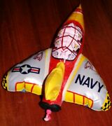1950s 1960's Inflatable Navy Friction Fighter Jet Plane Mib Old Store Stock Mint