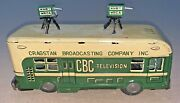 Antique Cragstan Broadcasting Company Inc Cbc Television Tin Friction Bus