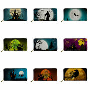 Halloween Full Moon Wallet Credit Cards Holder Purse Bag Holidays Gifts Storage
