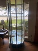 Commerical Octagonal Glass And Brushed Aluminum Retail Display Case