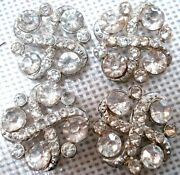 Rare Beauties Vintage/antique Pot Metal Shank And Rhinestone Buttons Set Of 4