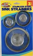 Ez Duzzit Stainless Steel Sink Mesh Strainers 3 Pk Fits Most Sink And Tub Drains
