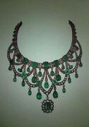 8.10ct Antique Rose Cut Diamond Silver Beautiful Emerald Party Necklace Jewelry