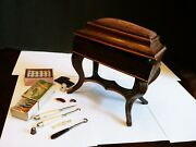 French Antique Hinged Wooden Sewing Box With Mirror, Implements