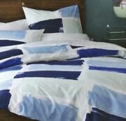 West Elm Organic Paint Brush Duvet Cover Queen/full - New Discontinued Blue