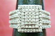 Rare Vintage Sterling Silver With Genuine Diamond Ring Size 9 Signed Kpj