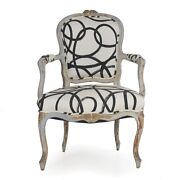 18th Century Louis Xv Period French Antique Arm Chair W/ Modern Upholstery