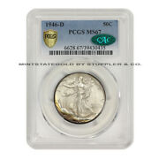 1946-d 50c Walking Liberty Pcgs Ms67 Graded Cac Certified Silver Half Dollar