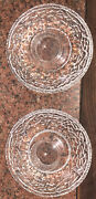 """Pair Of Orrefors 2 Ice Rock Crystal Candlesticks Candle Holders Signed 5.75"""" Rnd"""