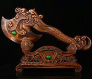 China Huanghuali Wood Inlay Gem Carved Dragon Beast Head Axe Ruyi Folding Screen