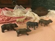 Vintage Set Of 5 Marked And Unmarked Celluloid Animals Putz, Viscoloid, Usa