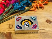 Tin Box With Day Of The Dead Tinplate Figurines