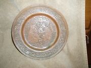 Antique Solid Copper, Hand Hammered Persian, Middle Eastern Wall Hanging Plate