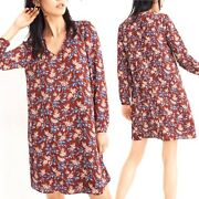 Madewell Button Back Dress In Antique Floral Size L Burgundy Red Long Sleeve Dg