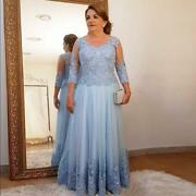 Lace Mother Of The Bride Dresses 3/4 Sleeves Tulle Appliques Weddings Prom Gowns