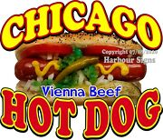 Chicago Hot Dog Vinyl Decal Choose Your Size Food Truck Concession Sticker
