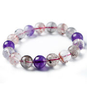 12mm Natural Super 7 Seven Crystal Melody Stone Crystal Round Beads Bracelet Aaa