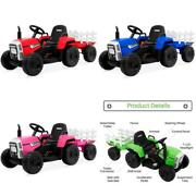 Kids Electric Tractor Ride On Toy With Dirt Tires Remote Control Trailer 12v