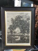 River Scene Antique Signed Etching By Alfred Louis Brunet Debaines Re 1845-1939