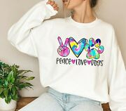 New Peace Love Dogs Colorful Cute Tie Dye Design Sweatshirts T-shirts S-3xl