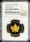 1989 Gold Canada 1 Oz Proof 50 Maple Leaf Coin Ngc Proof 66 Ultra Cameo