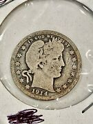 Rare Key Date 1914-s U.s. Silver Barber Quarter- See Other Coins Goldjewelry