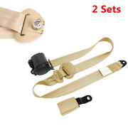 Car Iron Plate Style Safety Seat Belt Adjustable Retractable 3 Point Kits Beige
