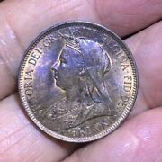 1900 Great Britain 1/2 Penny - Au With Some Original Luster