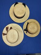 3 Vintage Lady's Straw Hats In A Rich's Box