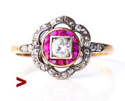 Antique Halo Ring Diamond Ruby Solid14k Gold Silver Us8.75/ 3.1 Gr