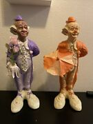 Vintage Porcelain Clowns Lot 16 In Tall Made In Holland 1950s Rare Set