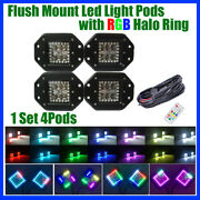 4x 5 Flush Mount Offroad Led Work Light Pods With Chasing Rgb Halo And Wiring Kit