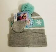 Frozen Toddler Winter Hat And Mittens Set Nwt Elsa Christmas Blue Gray Snow