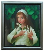 Philippe Bonamy French B.1926 Oil Portrait Painting Girl With Daisies