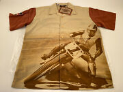 Harley Davidson Race Legend Button Up Shirt Men's Size M Tan And Rust Brown Nwt