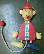 Rare Vintage 50's Wooden Asian Jumping Jack Pull String Puppet Made In Austria