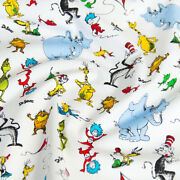 Cotton Fabric Quilting Fabric Kaufman Celebrate Seuss Characters By 1/2yard