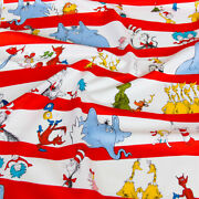 Quilting Cotton Fabric Kaufman Celebrate Seuss Characters Stripe By 1/2yard